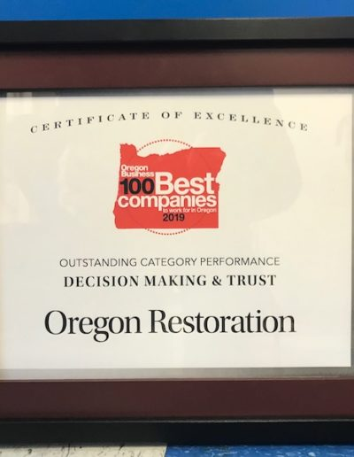 Oregon Best 100 Companies Certificate